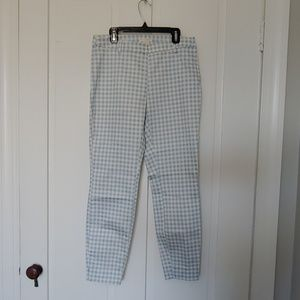 h&m white and blue checkered trousers / pants